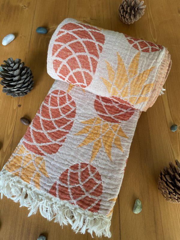 Pineapple Turkish Towel - Orange, 100% Organic Cotton, Handmade, Bath Towel, Peshtemal, Sauna Towel, Beach Towel