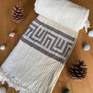Ancient Greek Turkish Towel - Brown, 100% Organic Cotton, Handmade, Bath Towel, Peshtemal, Sauna Towel, Beach Towel