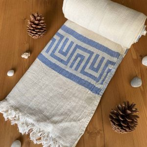 Ancient Greek Turkish Towel - Light Blue, 100% Organic Cotton, Handmade, Bath Towel, Peshtemal, Sauna Towel, Beach Towel