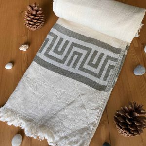 Ancient Greek Turkish Towel - Olive, 100% Organic Cotton, Handmade, Bath Towel, Peshtemal, Sauna Towel, Beach Towel