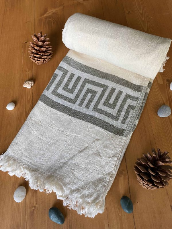 Ancient Greek Turkish Towel - Olive, 100% Organic Cotton, Handmade, Bath Towel, Peshtemal, Sauna Towel, Beach Towel