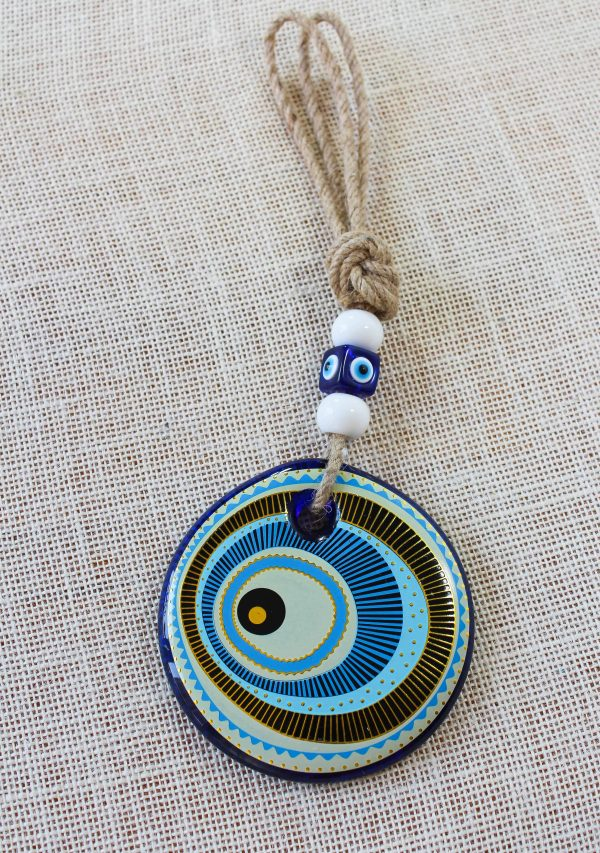 Blue Painted Evil Eye Wall Decor