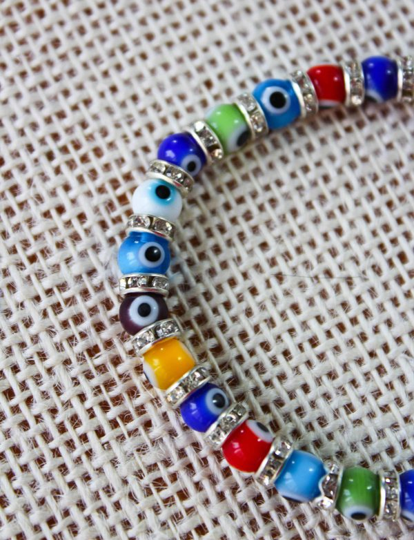 Colorful Glass Evil Eye Bracelet with Cubic Zirconia