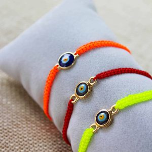Colorful Gold Plated Evil Eye Macrame Bracelets