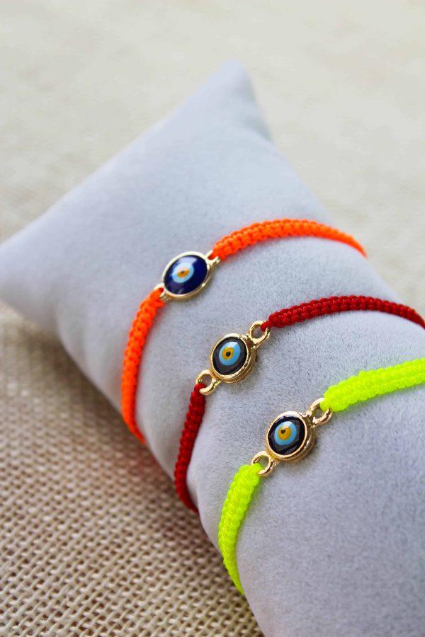 Colorful Gold Plated Evil Eye Macrame Bracelets