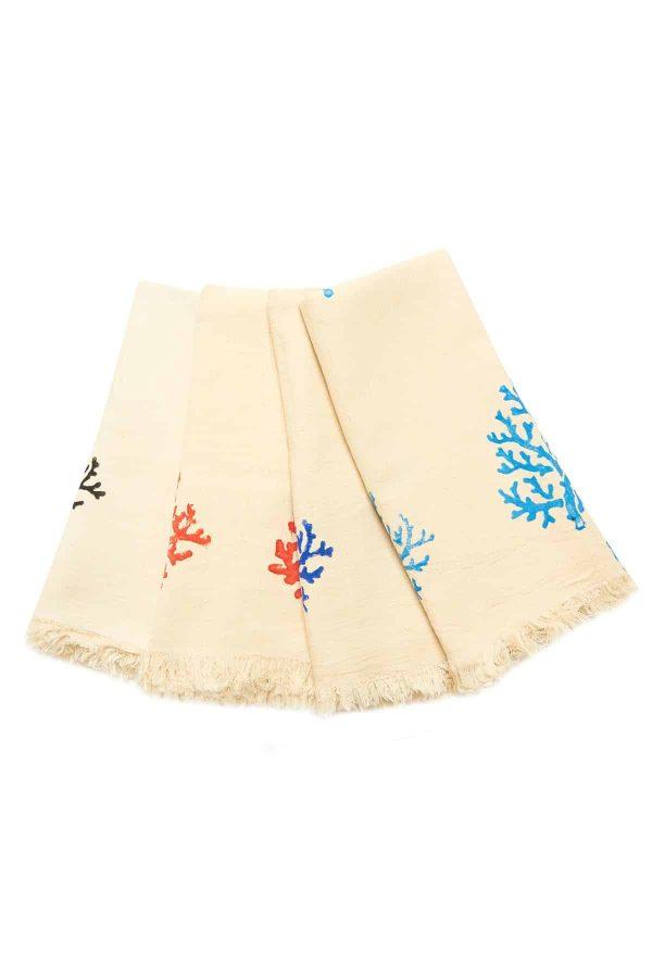 Coral Hand Printed Turkish Towel - Black, 100% Organic Cotton, Handmade, Bath Towel, Peshtemal, Sauna Towel, Beach Towel