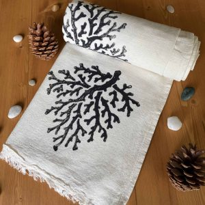 Coral Hand Printed Turkish Towel - Black, 100% Organic Cotton, Handmade, Bath Towel, Peshtemal, Sauna Towel, Beach Towel