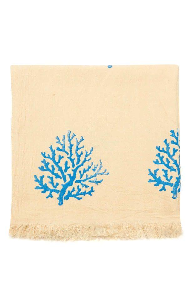 Coral Hand Printed Turkish Towel - Light Blue, 100% Organic Cotton, Handmade, Bath Towel, Peshtemal, Sauna Towel, Beach Towel