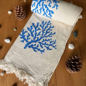 Coral Hand Printed Turkish Towel - Light Blue, 100% Organic Cotton, Handmade, Bath Towel, Peshtemal, Sauna Towel, Beach Towel