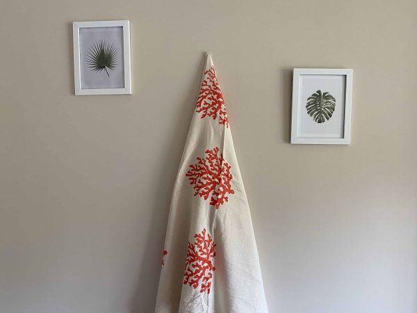 Coral Hand Printed Turkish Towel - Orange, 100% Organic Cotton, Handmade, Bath Towel, Peshtemal, Sauna Towel, Beach Towel
