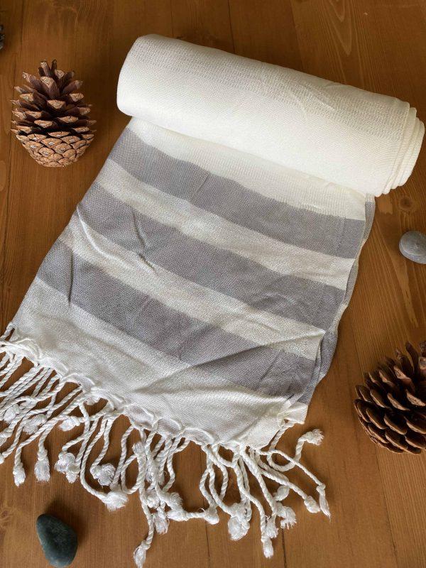 Dubai Turkish Towel - Gray, Handmade, Bath Towel, Peshtemal, Sauna Towel, Beach Towel