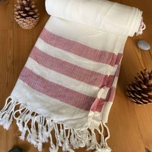 Dubai Turkish Towel - Red, Handmade, Bath Towel, Peshtemal, Sauna Towel, Beach Towel
