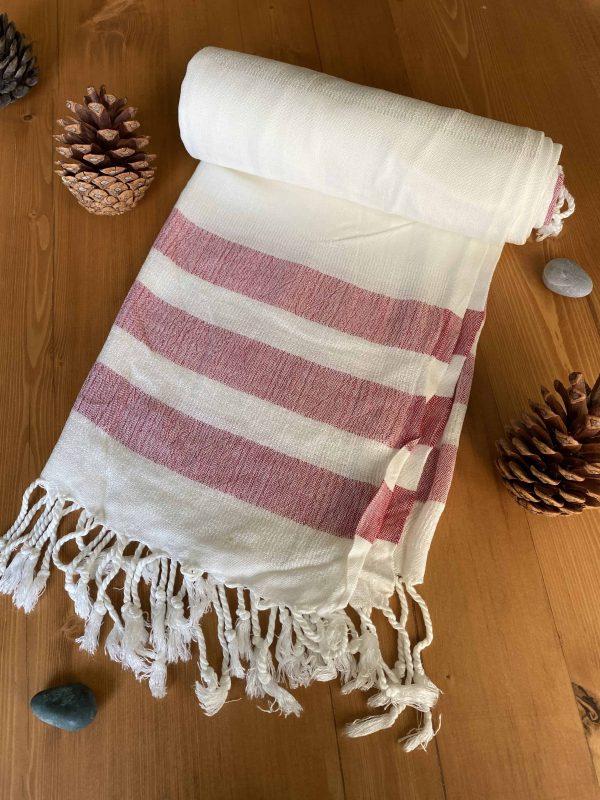 Dubai Turkish Towel - Red, Handmade, Bath Towel, Peshtemal, Sauna Towel, Beach Towel