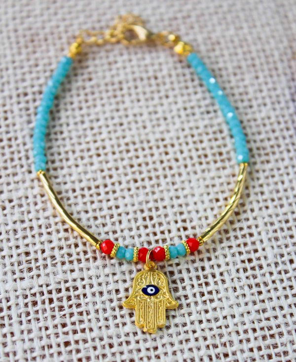 Evil Eye Bead Bracelet with Hamsa Hand