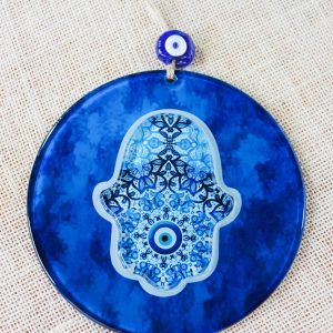 Evil Eye Hamsa Hand 3D Glass Wall Ornament