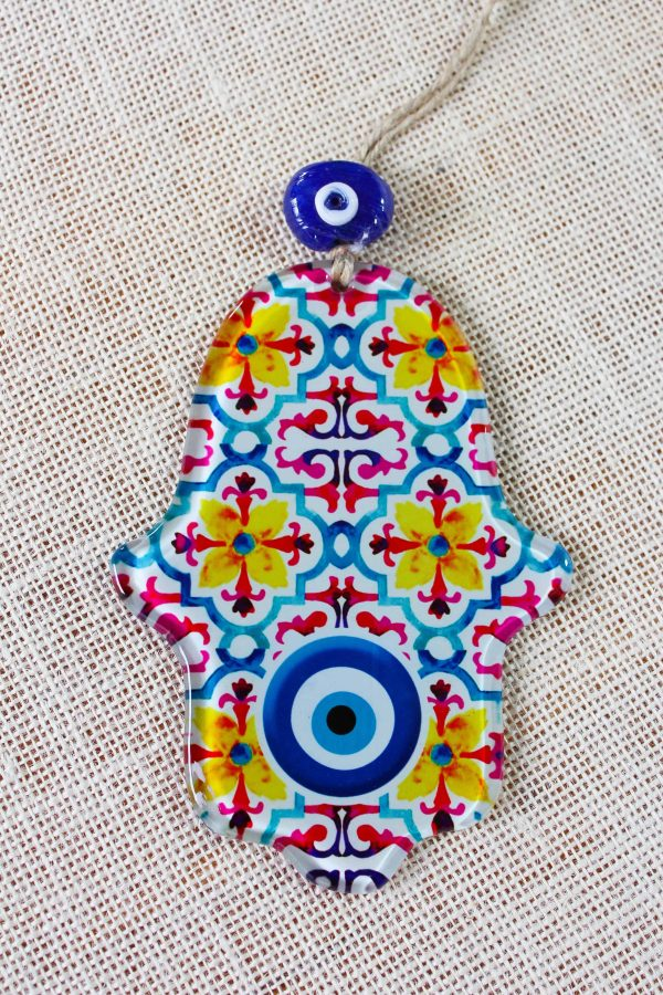 Evil Eye Hamsa Hand Glass Wall Ornament