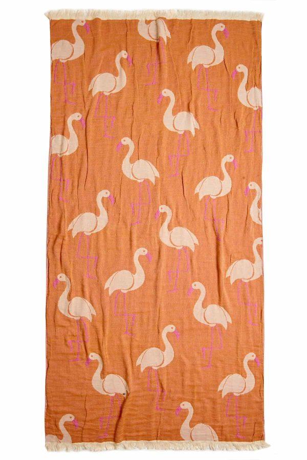 Flamingo Turkish Towel - Pink, 100% Organic Cotton, Handmade, Bath Towel, Peshtemal, Sauna Towel, Beach Towel