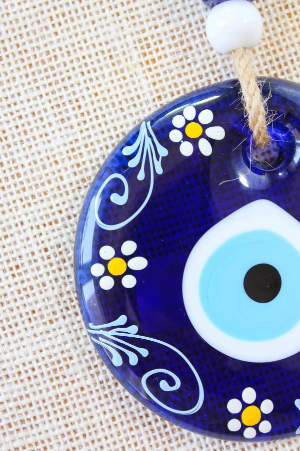 Flower Painted Blue Evil Eye Wall Hanging
