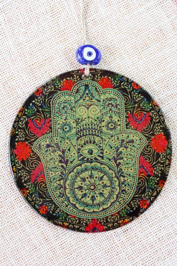 Fusion Art Glass Ornament Hamsa Hand 16cm