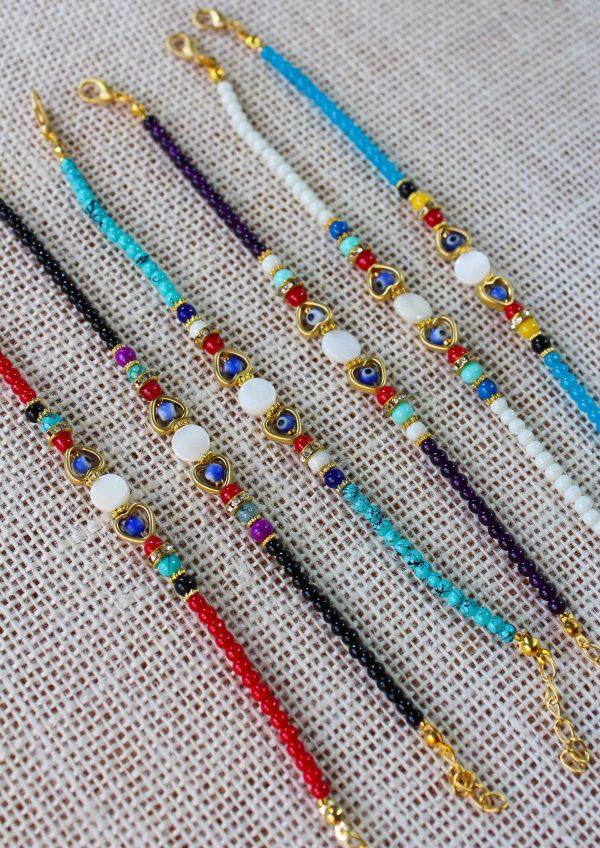 Glass Beaded Evil Eye Bracelet with Heart Shape & Zirconia