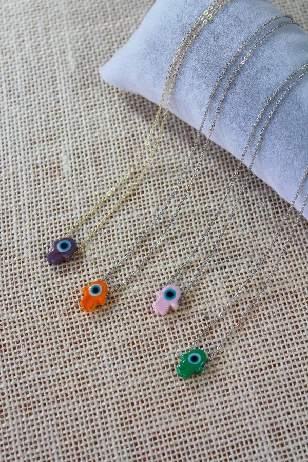 Glass Evil Eye Hamsa Hand Necklaces