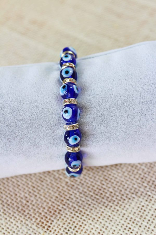 Glass Evil Eyes Bracelet with Cubic Zirconia