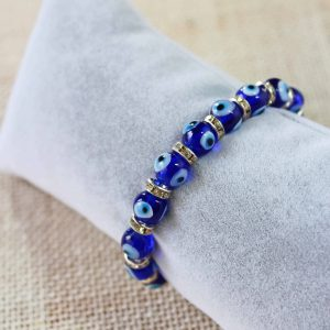 Glass Evil Eyes Bracelet with Cubic Zirconia