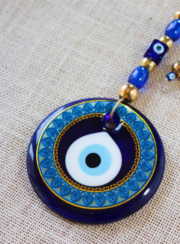 Glass Round Blue Evil Eye