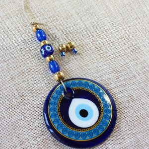 Glass Round Blue Evil Eye