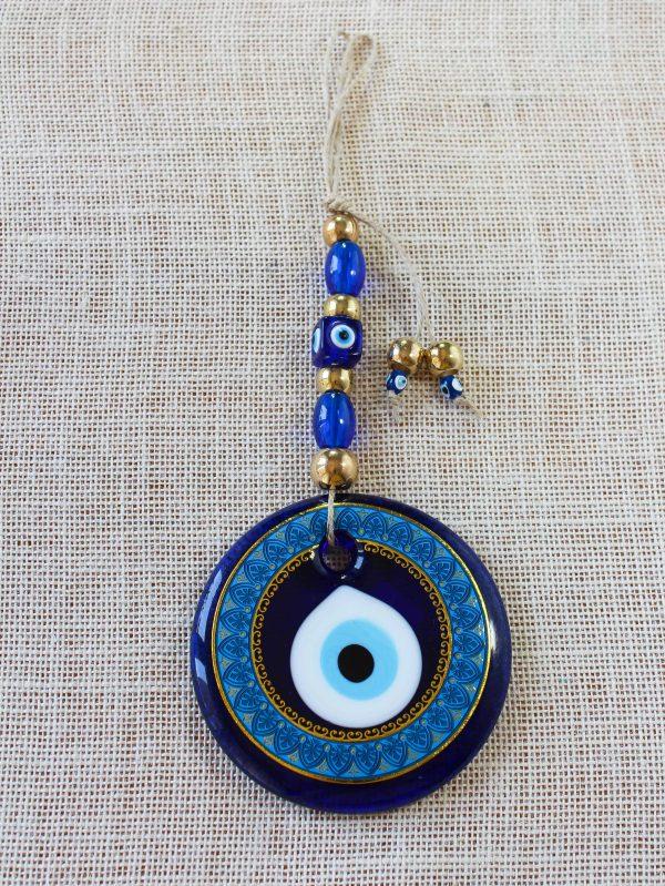 Glass Round Blue Evil Eye Amulet
