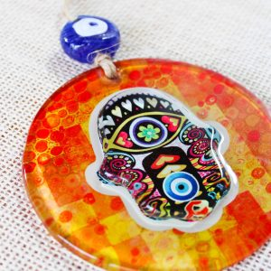 Hamsa Hand Evil Eye 3D Glass Wall Ornament