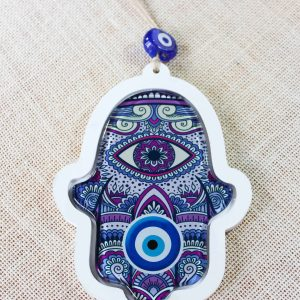 Hamsa Hand Evil Eye Glass Wall Ornament