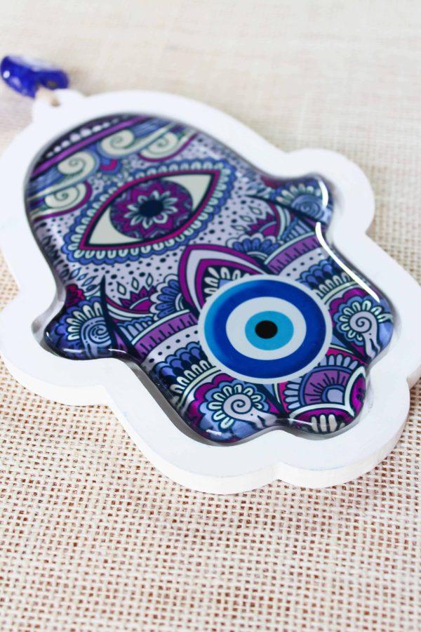 Hamsa Hand Evil Eye Glass Wall Ornament