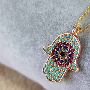 Hamsa Hand Evil Eye Necklace