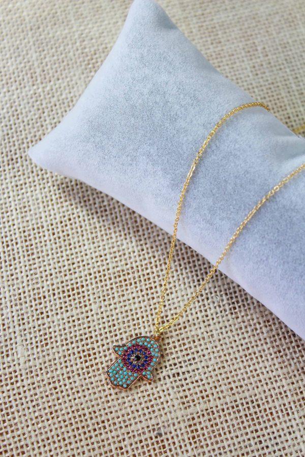 Hamsa Hand Evil Eye Necklace