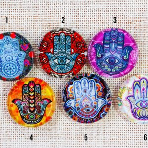 Hamsa Hand Fusion Art Glass Magnets