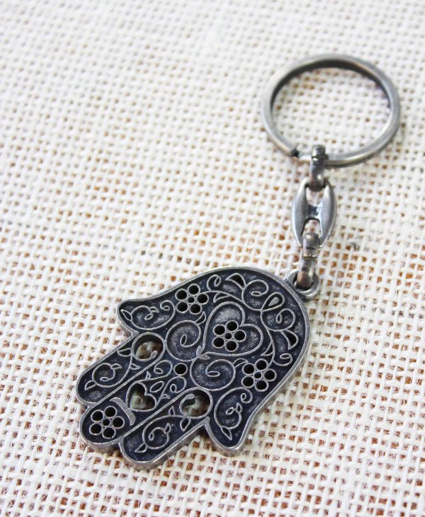 Hamsa Hand Metal Keychain