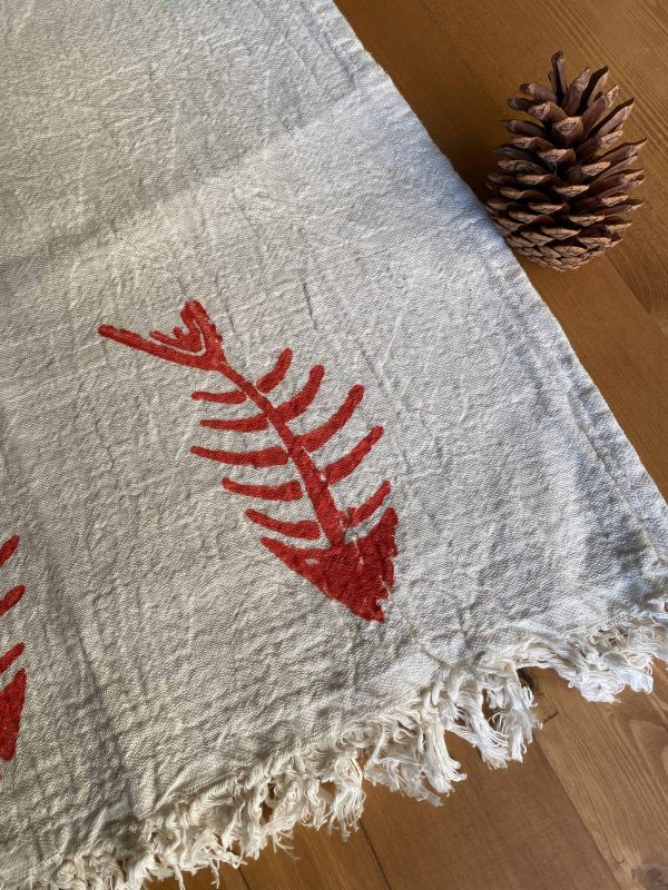 Hand Printed Fishbone Turkish Towel - Red, 100% Organic Cotton, Handmade, Bath Towel, Peshtemal, Sauna Towel, Beach Towel