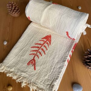Hand Printed Fishbone Turkish Towel - Red, 100% Organic Cotton, Handmade, Bath Towel, Peshtemal, Sauna Towel, Beach Towel