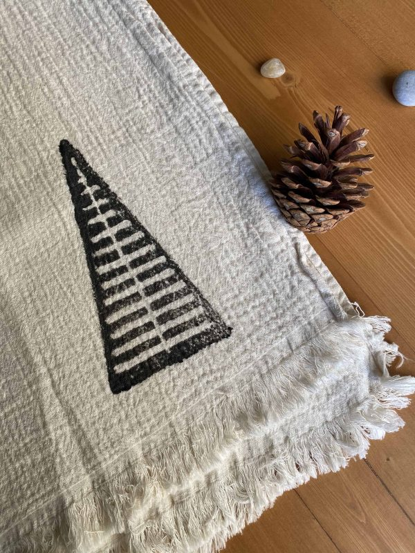 Hand Printed Pyramid Turkish Towel - Black, 100% Organic Cotton, Handmade, Bath Towel, Peshtemal, Sauna Towel, Beach Towel