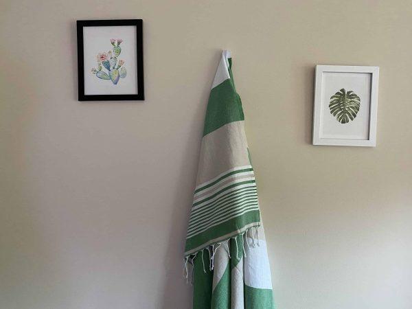 Hawaii Turkish Towel - Green, 100% Organic Cotton, Handmade, Bath Towel, Peshtemal, Sauna Towel, Beach Towel