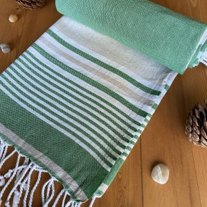 Hawaii Turkish Towel - Green, 100% Organic Cotton, Handmade, Bath Towel, Peshtemal, Sauna Towel, Beach Towel