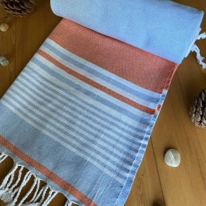 Hawaii Turkish Towel - Orange, 100% Organic Cotton, Handmade, Bath Towel, Peshtemal, Sauna Towel, Beach Towel