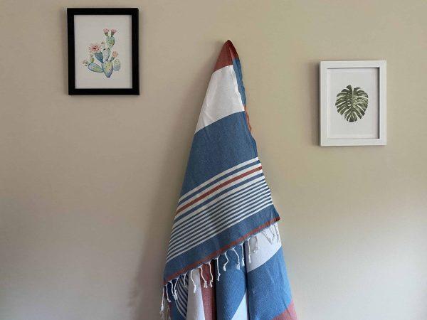 Hawaii Turkish Towel - Red, 100% Organic Cotton, Handmade, Bath Towel, Peshtemal, Sauna Towel, Beach Towel