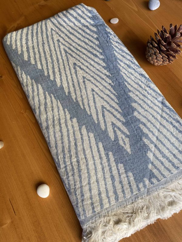 Helsinki Turkish Towel - Dutch Blue, 100% Organic Cotton, Handmade, Bath Towel, Peshtemal, Sauna Towel, Beach Towel
