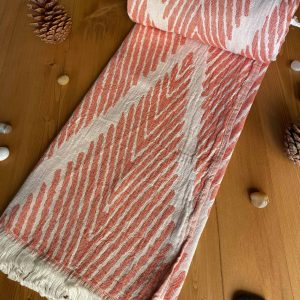 Helsinki Turkish Towel - Orange, 100% Organic Cotton, Handmade, Bath Towel, Peshtemal, Sauna Towel, Beach Towel