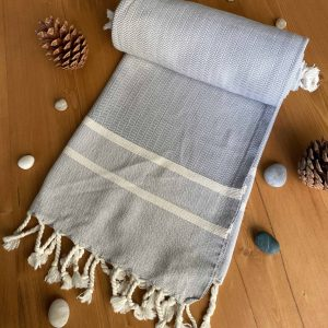 Ibiza Turkish Towel - Ballad Blue, 100% Organic Cotton, Handmade, Bath Towel, Peshtemal, Sauna Towel, Beach Towel