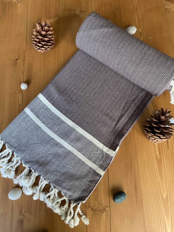 Ibiza Turkish Towel - Brown, 100% Organic Cotton, Handmade, Bath Towel, Peshtemal, Sauna Towel, Beach Towel