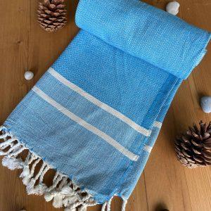 Ibiza Turkish Towel - Deep Sky Blue, 100% Organic Cotton, Handmade, Bath Towel, Peshtemal, Sauna Towel, Beach Towel