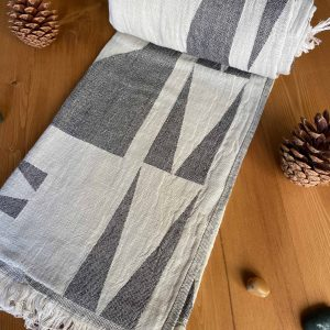 Monaco Turkish Towel - Black, 100% Organic Cotton, Handmade, Bath Towel, Peshtemal, Sauna Towel, Beach Towel